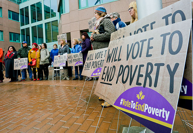 Picket with Yukon Anti-poverty Coalition